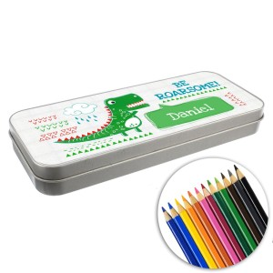 "Personalised ""Be Roarsome"" Dinosaur Pencil Tin with Pencil Crayons"