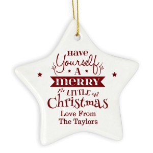 Personalised Merry Little Christmas Ceramic Star Decoration