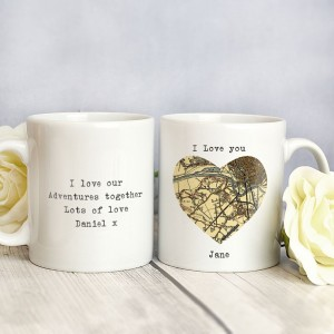 Personalised 1896 - 1904 Revised New Map Heart Mug