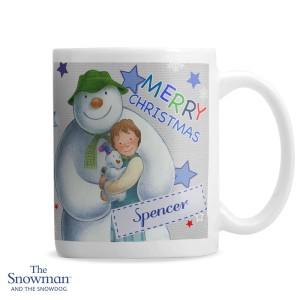 Personalised The Snowman and the Snowdog Blue Mug