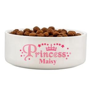 Personalised Princess 14cm Medium White Pet Bowl