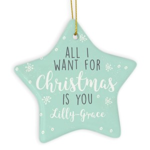"Personalised ""All I Want For Christmas"" Ceramic Star Decoration"