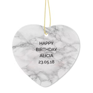 Personalised Marble Effect Ceramic Heart Decoration
