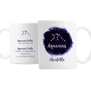 Personalised Aquarius Zodiac Star Sign Mug (January 20th - February 18th)