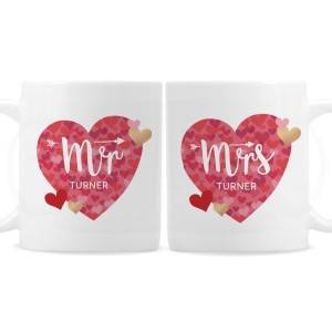 Personalised Mr and Mrs Valentine's Day Confetti Hearts Mug Set