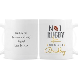 Personalised No.1 Rugby Fan Mug