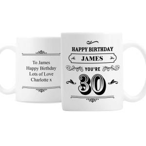 Personalised Birthday Vintage Typography Mug