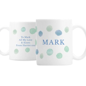 Personalised Blue Spot Mug