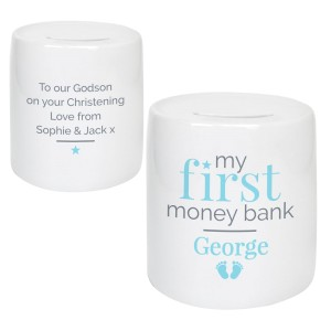 Personalised Blue My First Ceramic Money Box