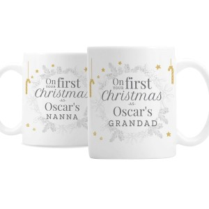 "Personalised ""On Your First Christmas As"" Mug Set"