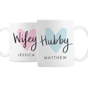 Personalised Hubby & Wifey Mug Set