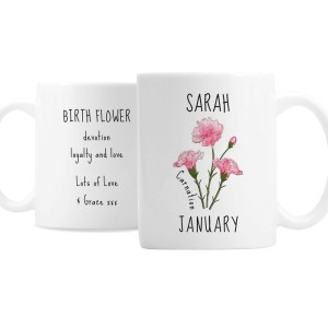 Personalised January Birth Flower - Carnation Mug