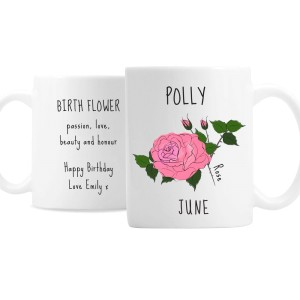 Personalised June Birth Flower - Rose Mug