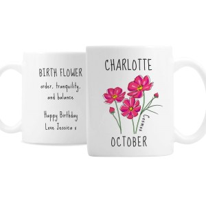 Personalised October Birth Flower - Cosmos Mug