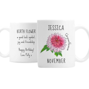 Personalised November Birth Flower - Chrysanthemum Mug