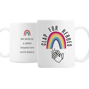 "Personalised Rainbow ""Clap for Heroes"" Mug"