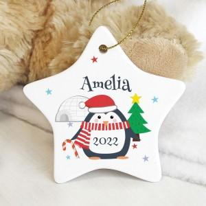 Personalised Christmas Penguin Ceramic Star Decoration
