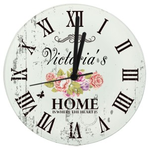 Personalised Shabby Chic Floral Glass Clock