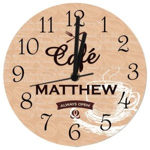 Personalised Cafe Glass Clock