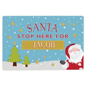 "Personalised ""Santa Stop Here"" Metal Sign"