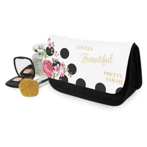 Personalised Floral Dot Make Up Bag