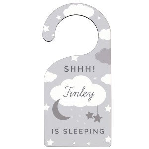 Personalised New Baby Moon & Stars Door Hanger