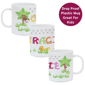 Personalised Pink Animal Alphabet Plastic Cup Mug