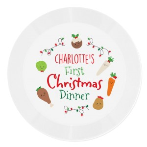 "Personalised ""First Christmas Dinner"" Plastic Plate"
