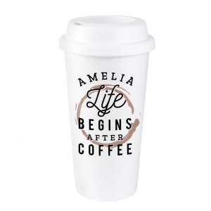 "Personalised ""Life Begins After Coffee"" Insulated Eco Travel Cup"