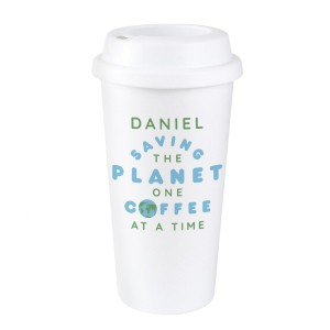 """Personalised """"Saving the Planet"""" Insulated Reusable Eco Travel Cup"""