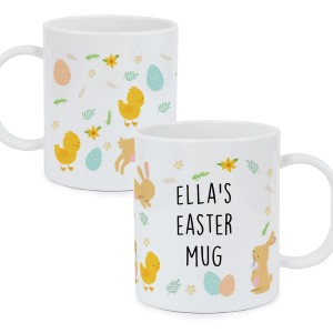 Personalised Easter Bunny & Chick Plastic Mug