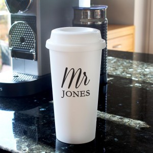 Personalised Free Text Insulated Reusable Eco Travel Cup