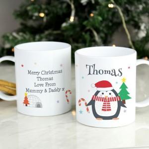Personalised Christmas Penguin Plastic Mug