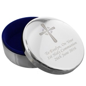 Personalised Silver Cross Trinket Box - Ideal For Rosary Beads