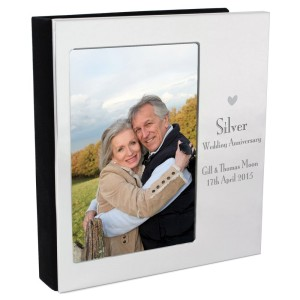 Personalised Decorative Silver Anniversary 6x4 Photo Frame Album