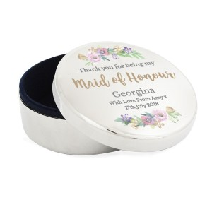 "Personalised Maid of Honour ""Floral Watercolour Wedding"" Round Trinket Box"