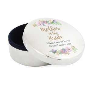 "Personalised Mother of the Bride ""Floral Watercolour Wedding"" Round Trinket Box"