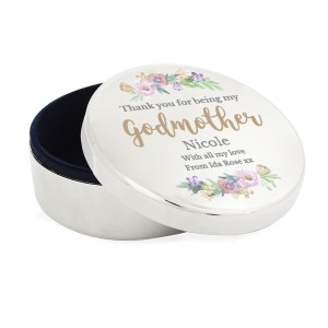 "Personalised Godmother ""Floral Watercolour"" Round Trinket Box"