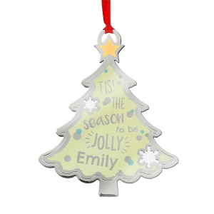 "Personalised Tis"" The Season To Be Jolly Tree Metal Decoration"
