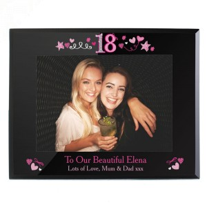 Personalised 18th Birthday Black Glass 7x5 Frame