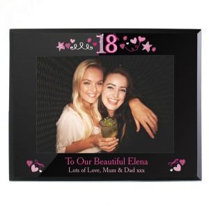 Personalised 18th Birthday Black Glass 7x5 Frame