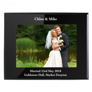 Personalised 7x5 Landscape Black Glass Photo Frame