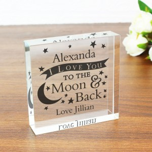Personalised To the Moon and Back... Large Crystal Token