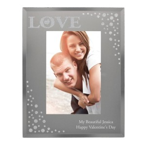 Personalised LOVE Diamante 4x6 Glass Photo Frame