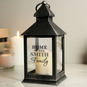 Personalised The Family Rustic Black Lantern
