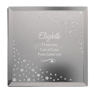 Personalised Any Message Swirls & Hearts Diamante Glass Trinket Box