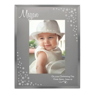 Personalised Swirls & Hearts Diamante 4x6 Glass Photo Frame
