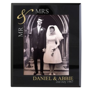 Personalised Gold Couples 5x7 Black Glass Photo Frame