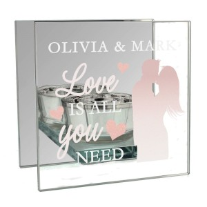 "Personalised ""Love is All You Need"" Mirrored Glass Tea Light Holder"