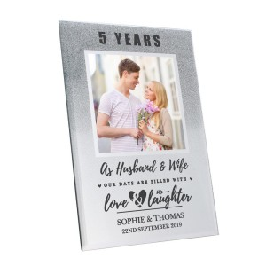 Personalised Anniversary 4x4 Glitter Glass Photo Frame
